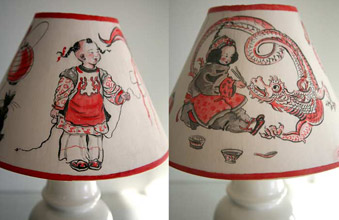 Chinese Fantasy Painted Lampshade