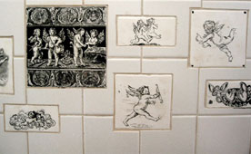 Black and white cupids tiles